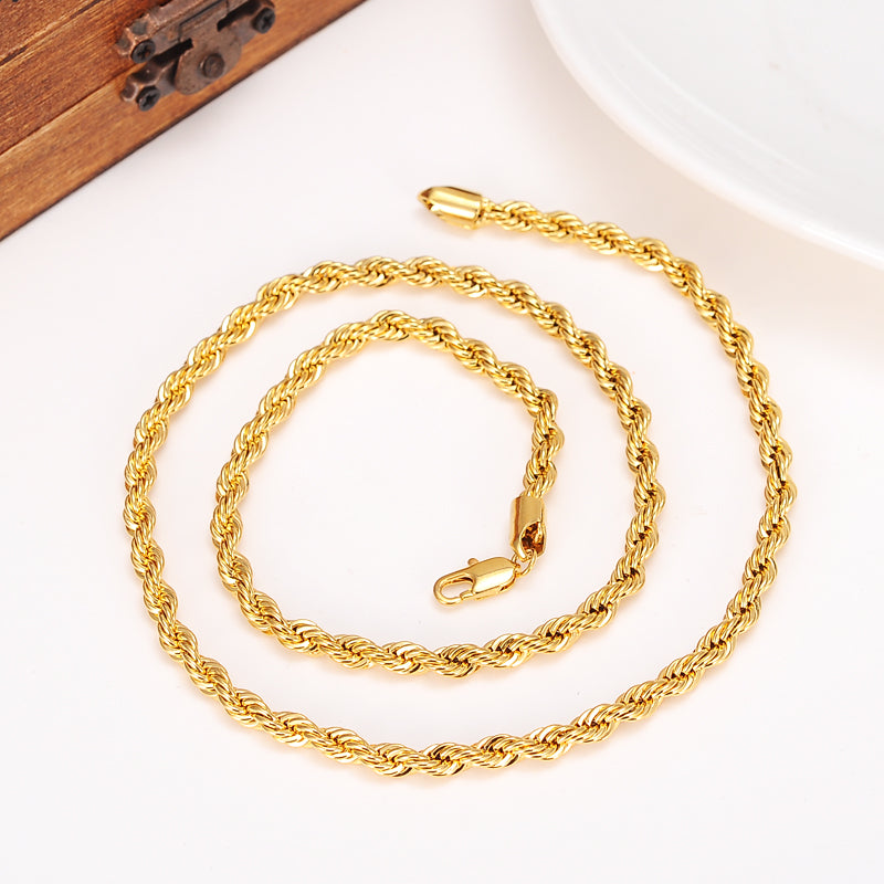 24k Gold  Filled Twisted Chain Necklace for Men/Women Gold rope chain  Africa Jewelry Arab Chain Ethiopia Long boyfriend  gift