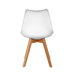 4 Pcs Armless Soft Padded Seat Dining Chair Modern and Body Engineering Design Chairs with Wooden Leg White Stock in US