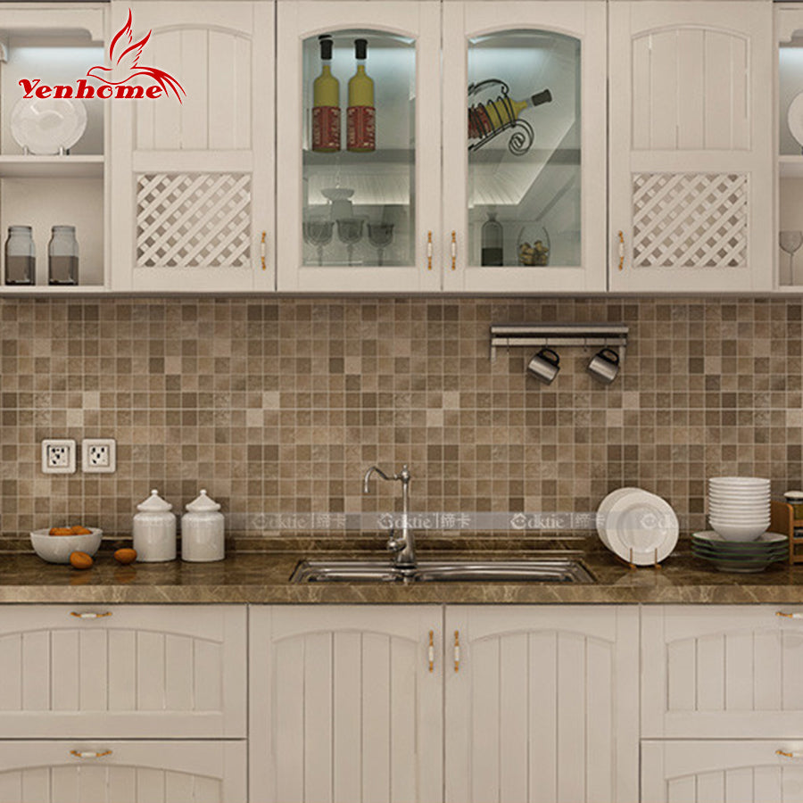 5Meter PVC Wall Sticker Bathroom Waterproof Self Adhesive Wallpaper Kitchen  Mosaic Tile Stickers For Walls Decal