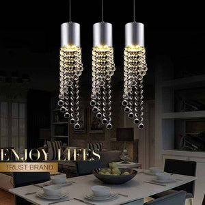 5W Led Lamp Modern Crystal Pendant Light Kitchen Dining Room Shop Silver Metal 3 Heads Home Rope Lighting Fixtures 220V