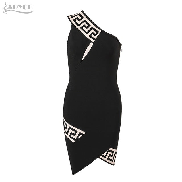 ADYCE 2017 Fashion Winter dress Sexy Black One Shoulder Geometric Print Women Bandage Dress Celebrity Evening Party Dresses