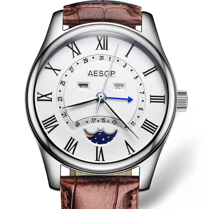 aa1d12d3bda AESOP Fashion Men Watch Men Sapphire Crystal Quartz Wrist Wristwatch Moon  Phase Leather Male Clock Relogio
