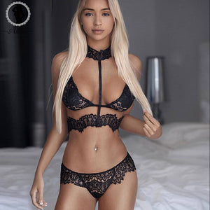ALINRY sexy lace bra set women black floral push up transparent bralette plus size lingerie 2017 seamless underwear briefs sets