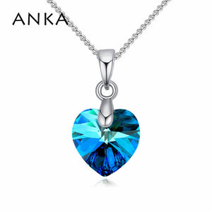 ANKA fashion small heart necklace colorful heart Crystals from Swarovski necklace pendants copper jewelry gift for woman #125615