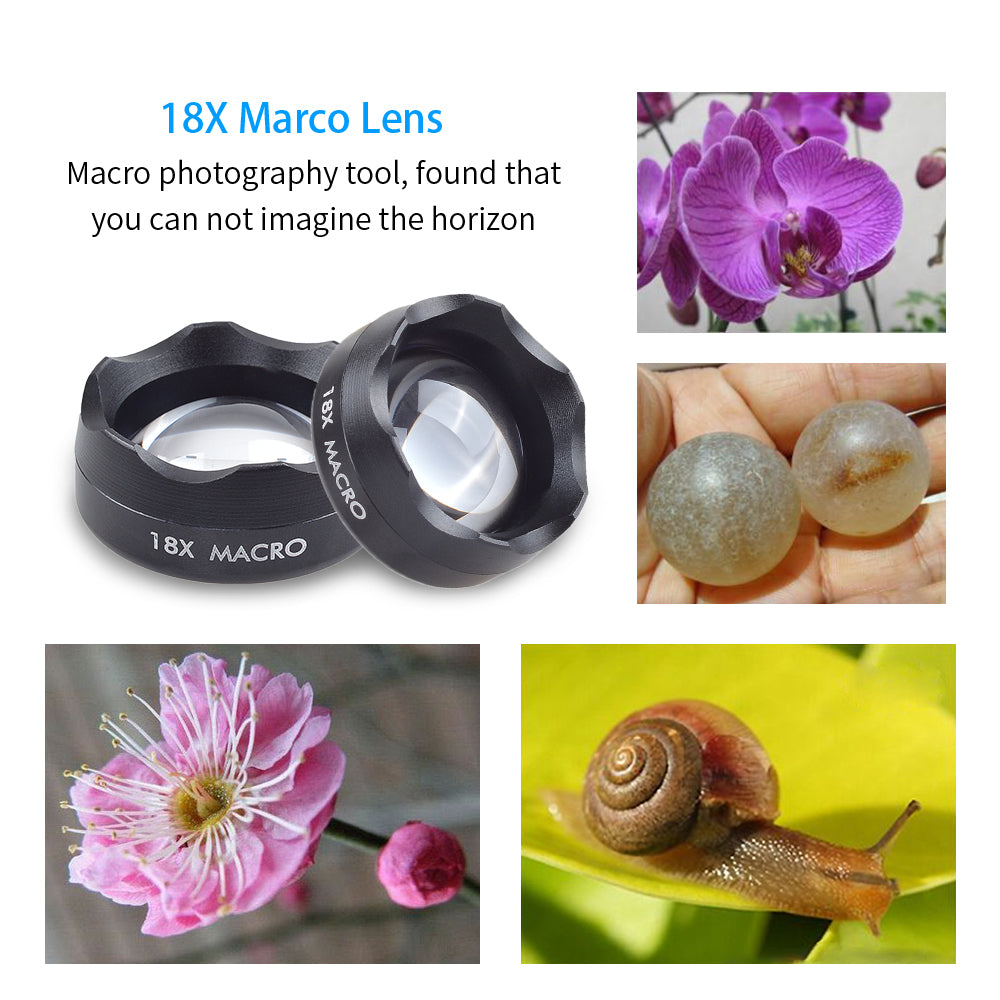 APEXEL Universal Clip on HD 18X Macro Lens Photography Mobile Phone Lens micro lentes For iPhone Lens mobile phone