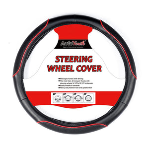AUTOYOUTH Car Steering Wheel Cover Sporty Wave Pattern With Red Line Stitching Fits 38cm Diameter Car Accessories Car-styling