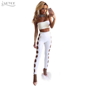 Adyce 2017 New Women Summer Bandage Two Pieces Set Black White Hollow Out Short Top&Ankle Length Pants Celebrity Runway 2 pieces