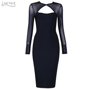 Adyce 2017 Sexy Women Dress O Neck Long Sleeve Mesh Chic Black Bandage Dress Vestidos Celebrity Evening Party Dresses Clubwear