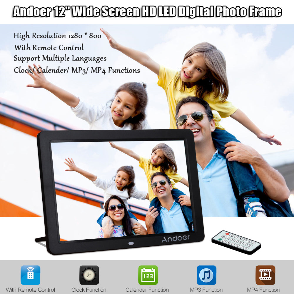 "Andoer 12"" Wide Screen HD LED Digital Photo Frame 1280 * 800 Electronic Picture Frame MP3 MP4 Player Clock with Remote Control"