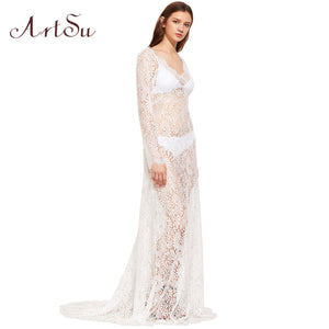 ArtSu 2017 Women Elegant Lace Long Dress Sexy Maxi See Through Floral V-Neck Evening Party Summer Dresses Vestidos ASDR20034