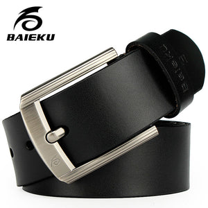 BAIEKU 2017 Newest designer belts men high quality cow genuine leather vintage pin buckle ceinture mens belts luxury