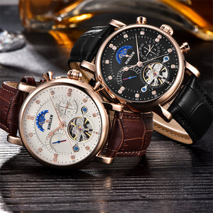 BINSSAW 2017 Mechanical Automatic Watch Men Sport Tourbillon Top Luxury Brand Relojes Hombre Leather Moon Phase Watches relogio