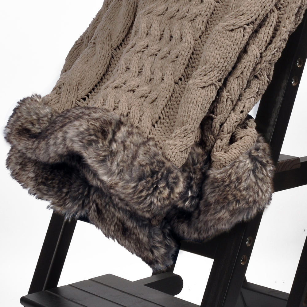 "Battilo Cable Knitted Luxury Chenille Throw Blanket with Faux Fur Serging on Both Ends, 50"" x 60"""