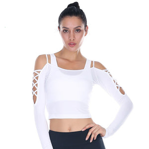 Beboy Sexy Off-shoulder Yoga Sport Shirts Long Sleeve Women Slim Workout Running T-shirt Flexible Solid Gym Crop Tops Activewear