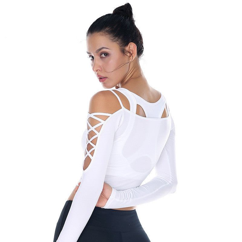 dc13aed8 Beboy Sexy Off-shoulder Yoga Sport Shirts Long Sleeve Women Slim Workout  Running T-shirt Flexible Solid Gym Crop Tops Activewear