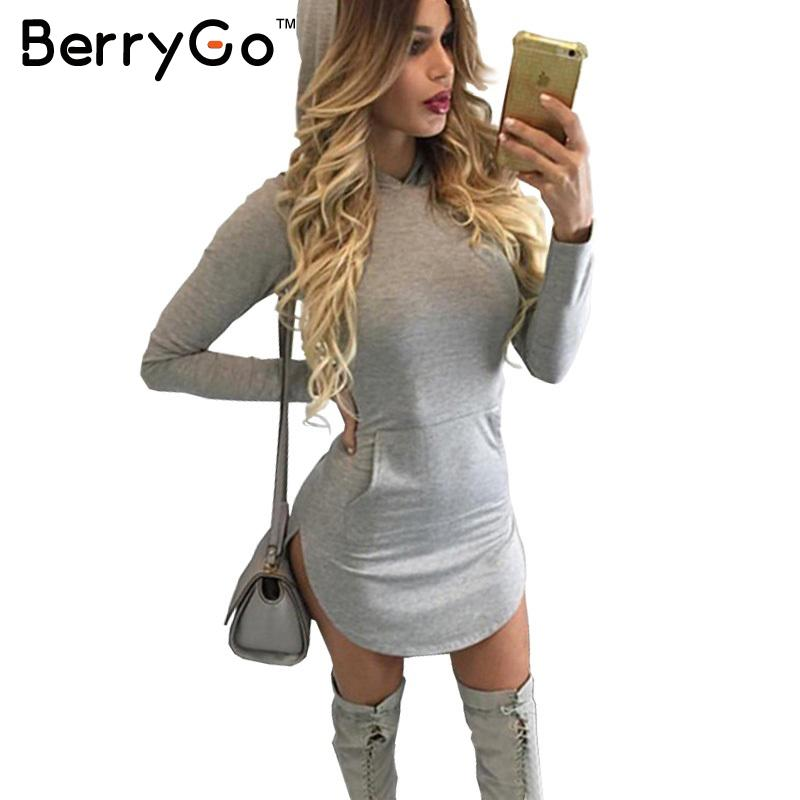 BerryGo Winter warm cotton hooded dress Women pocket long sleeve bodycon dress Sexy slim gray casual short vestidos de fiesta