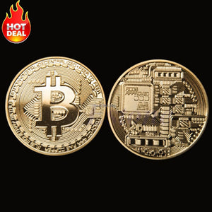 Bitcoin Commemorative Coin Collectible BTC Coins Gold Plate Art Collection Gift Physical Metal Antique Imitation