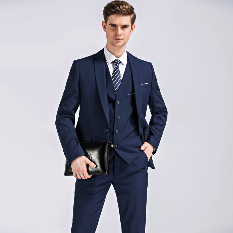 (Blazer+Pants+Vest) Classic Men Suit Slim Royal Blue Wedding Groom Wear Men Suit Black Gentlemen Costume Mariage Homme M-4XL