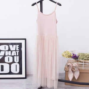 [CHICEVER] 2017 Sexy Off Shoulder Summer Women Dress Female Loose Spaghetti Strap Mesh Ladies Party Dresses New Clothing