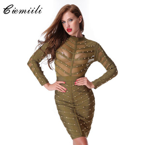 CIEMIILI 2017 New Women Evening Party Bandage Dress Stretch Mesh Knee-length Long Sleeve Summer Dresses Celebrity Bodycon Dress