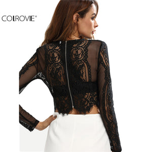 COLROVIE Lace See-through Crop Shirt Women Blouse Autumn Round Neck Long Sleeve Sexy Ladies Tops Zipper Back Blouse