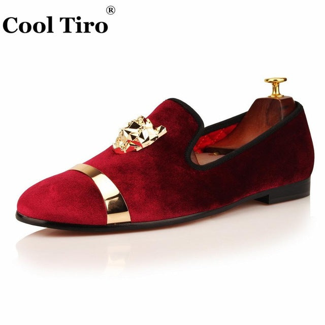 COOL TIRO Handmade Loafers Men Velvet Shoes Slippers Smoking Slip-on Shoes Tiger Gold Buckle Party Wedding Dress Mens Flats Blue