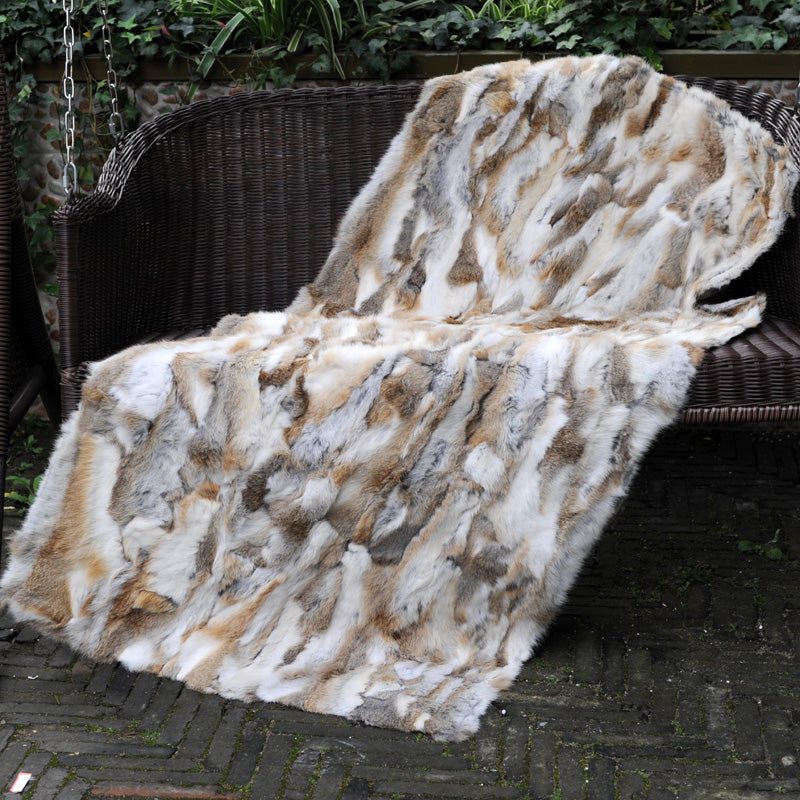 CX-D-11B European Fashion Customized Size Bedding Set Real Rabbit Fur Blanket Big Sofa Living Room Carpet Thick Floor Blanket