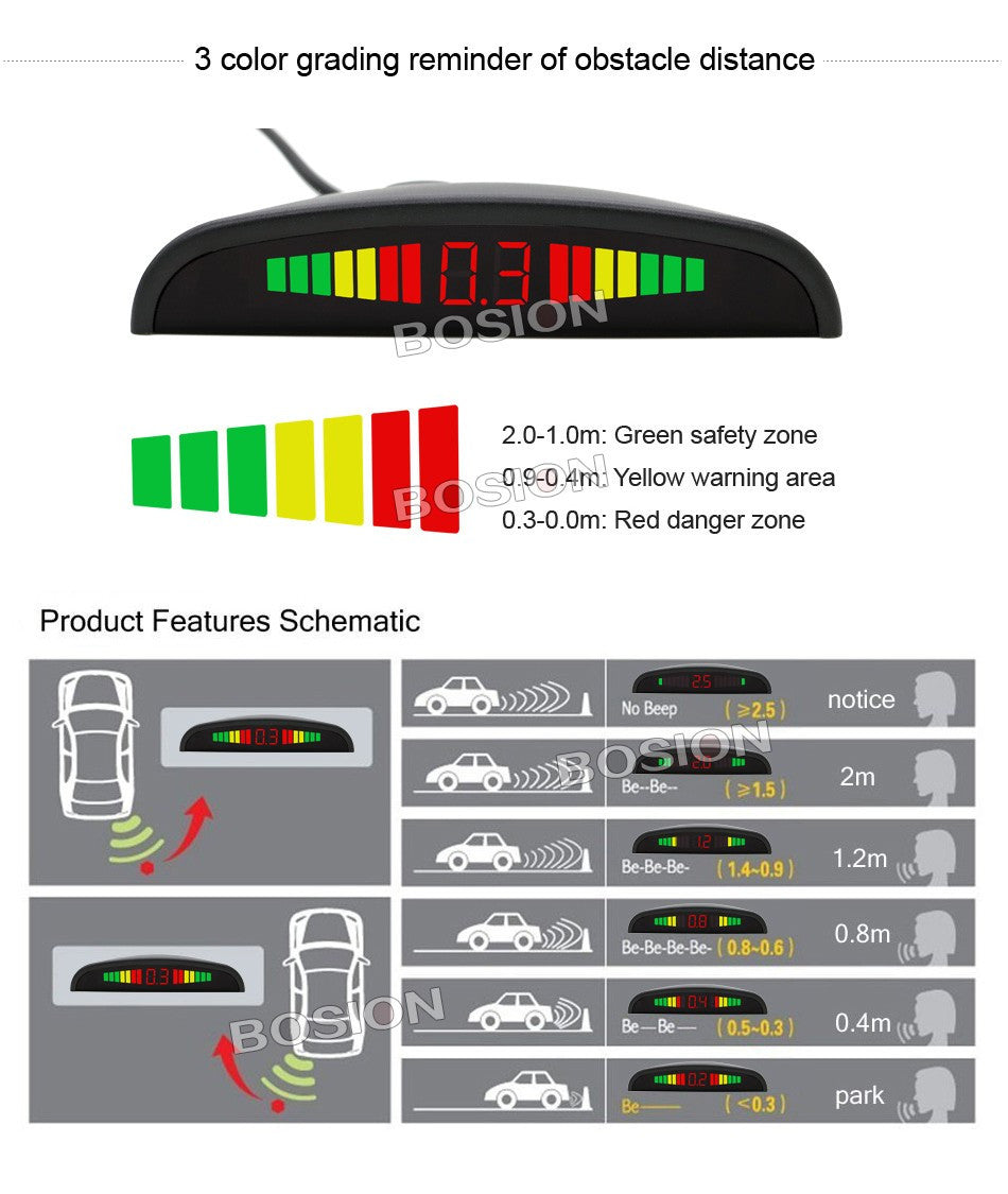 Car Auto LED Display Reverse Backup Radar System Buzzing Sound Warning with 4 Parking Sensors