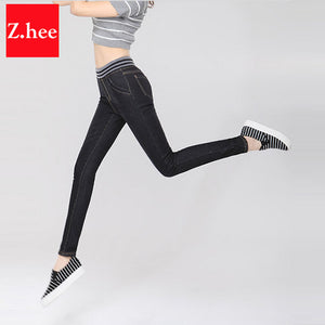 Cashmere Winter Warm Jeans Women With High Waist Black Jeans For Girls Stretching Skinny jeans elastic waist Large Size