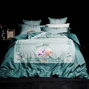 Chinese Retro style Bedding Set Egyptian Cotton Silk Embroidered Bed set 4/6Pcs King Queen Size Bed sheet set Duvet cover Pillow
