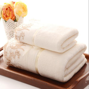Classic Towels Pure Fresh Beautiful Couples Set Towel Sand Beach Household Bath Towel Travel Hand Towel 1pc 70*140cm+1pc 34*75cm