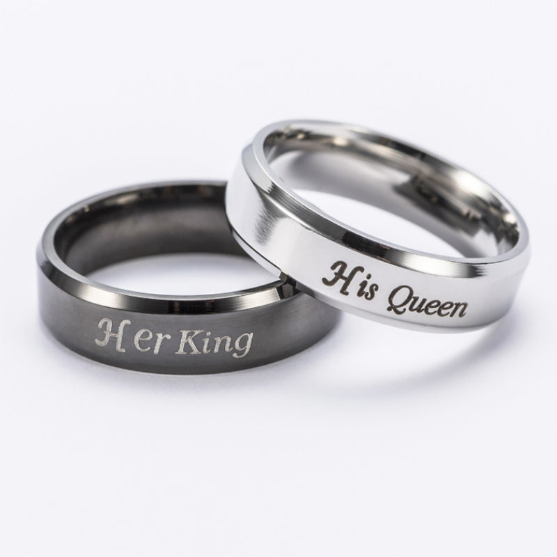 Couple Rings DIY Queen King Beast Beauty Stainless Steel Ring Jewelry Design for Lovers' 2017 New Fashion Love Rings