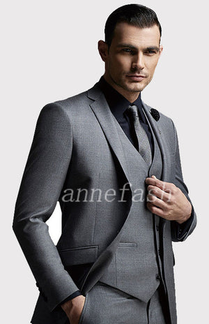 Custom Made high quality 150's worsted pure wool grey Suit Men Slim Fit Suit(jacket+pants+vest)