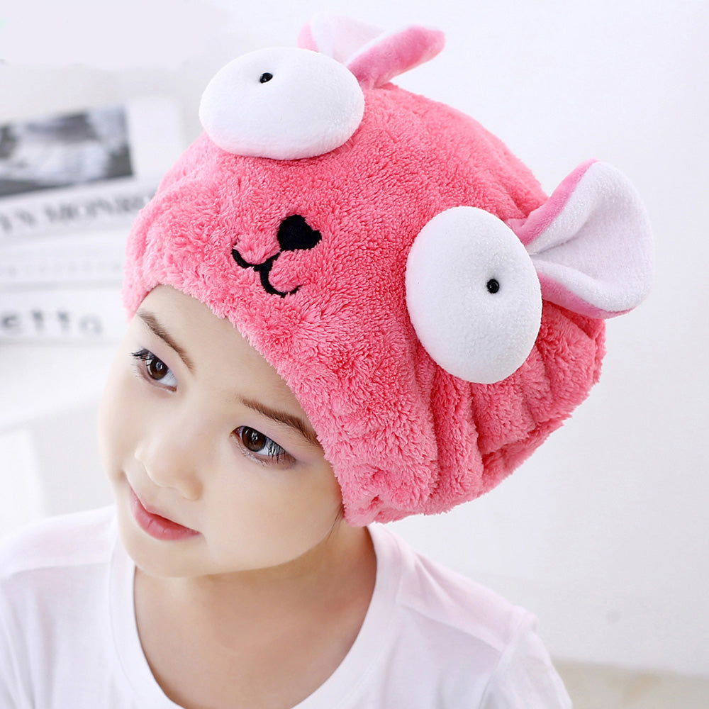 Cute Bath Towel Hair Dry Hat Shower Cap Strong Absorbing Drying Long - Velvet Ultra -Soft Children 's Special Dry Hair Cap Towel