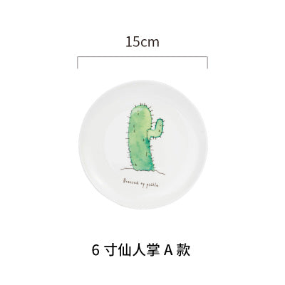 Cute ceramic dinner plate 6inch bear cartoon children dish Winter procelain natural cactus tree plate wholesale cheap tableware
