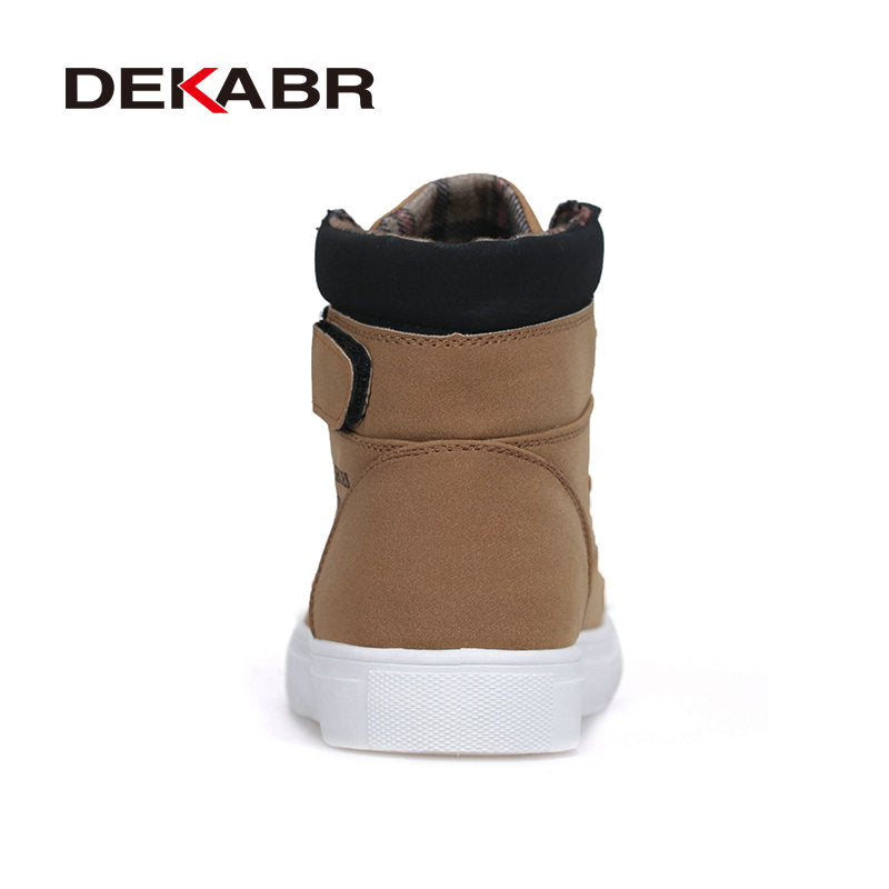 DEKABR New Men High Top Canvas Shoes Fashion Casual Shoes Autumn Winter Warm Fur Men Boots Men Leather Footwear Big Size 38~47