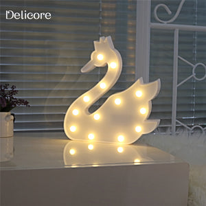 DELICORE Pretty Cute swan Cartoon Animal Night Light Baby Room Sleeping Light Bedroom Desk Lamp Night Lamp Of Best Gifts S129