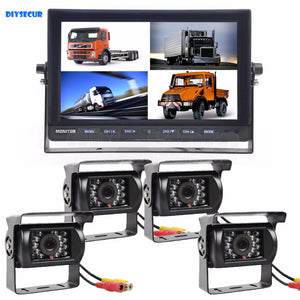 DIYSECUR 10 Inch Split Quad Display Video Security Monitor + 4 x CCD IR Night Vision Rear View Camera Waterproof