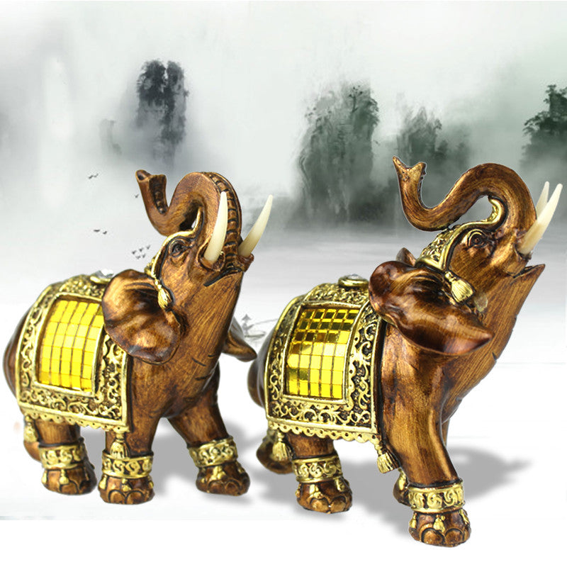 Decorative Figurines Elephant with Diamond Elephant Statue Resin Souvenir Garden Figures Miniature Home Decoration Accessories