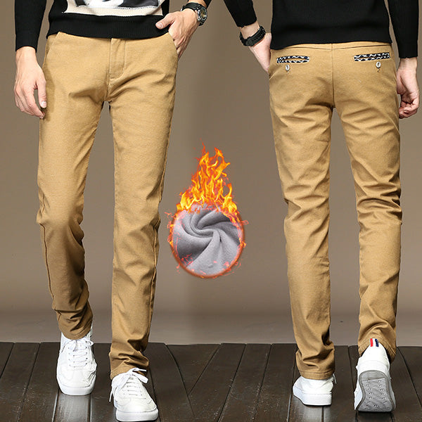 Drizzte Mens Khaki Pants Sanded Fleece Dress Dress Pants Flannel Lined Black Grey Trousers Casual Slacks Pants for Winter