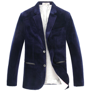 E-artist Men's Slim Fit Business Causal Velvet Blazers Jackets Suit Coats Outwear Tops for Spring Autumn Winter Plus Size X31