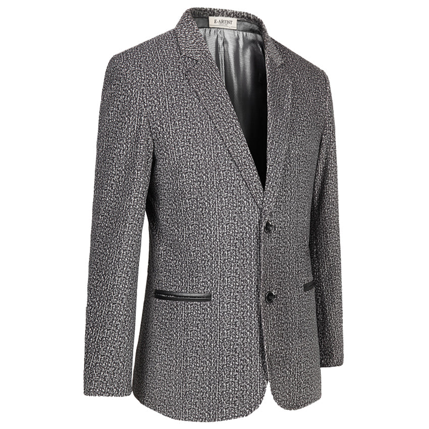 E-artist Men's Slim Fit Causal Floral Print Blazer Jackets Male Velvet Suit Coats for Spring Autumn Plus Size 5XL X37