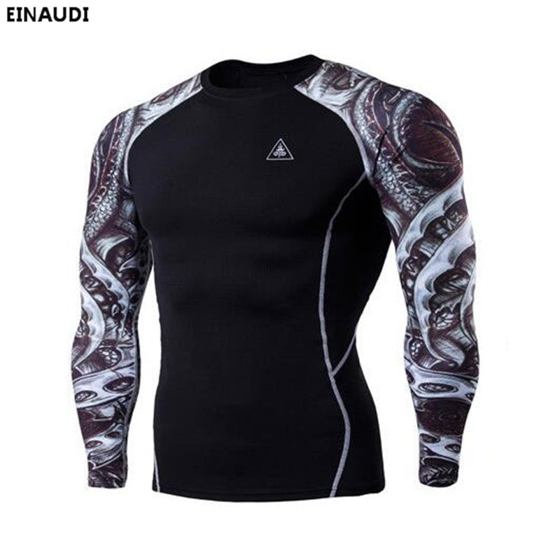 EINAUDI 2017 Muscle Men Compression Tight T-shirt Long Sleeve MMA Fitness Base Layer Tshirts Mens Bodybuilding 3D Prints Tees