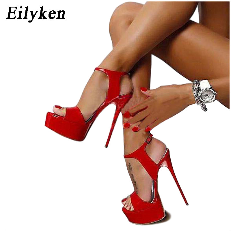 Eilyken Women Sandals Gladiator Party Ankle Strap Patent Leather Concise Ultra Very High heel Pumps 17CM Fetish Sandals shoes