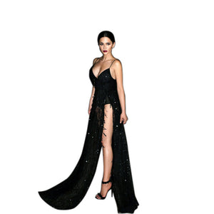 Elegant Gold Sequin Long Dress Fringed Party Dress Women Sexy Slit Dating Perspective Halter Evening Vestidos Night Club Dresses