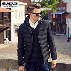 Enjeolon brand 2017 Winter Cotton Padded Hooded coat Men,Waterproof Parka Clothing,Thick Quilted Mens Hoodies MY0282 free ship