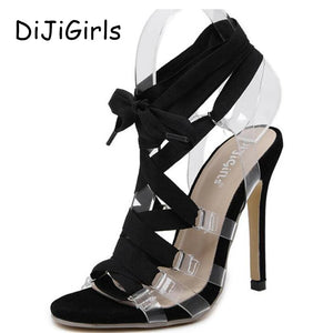 European Sexy Classic Sandal Style PVC Clear Transparent Black Strappy High Heel Sandals Roman Gladiator Stilettos Women Shoes
