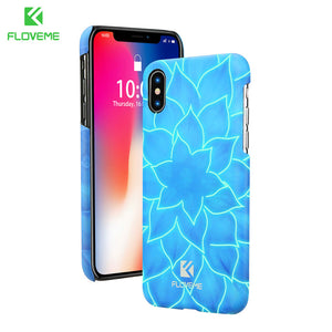 FLOVEME 3D Lotus Phone Case for iPhone X , Luminous Flower Mobile Cover Phone Bag Cases for iPhone 7 8 8 Plus 4.7 - 5.8 inch