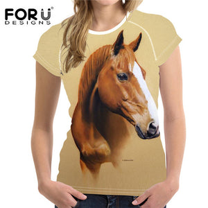 FORUDESIGNS Summer T Shirt Women Casual t-shirt Funny 3D Horse Women Crop Tops Brand Feminine Shirts Crossfit Tops Ropa Mujer