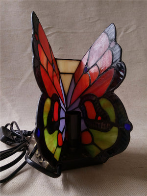 FUMAT Butterfly Table Lamp Stained Glass Butterfly Light For Living Loom Bedside Lamps Creative Butterfly Lampshade Table Lights